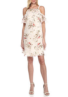 Bobeau Cold Shoulder Floral Printed Dress