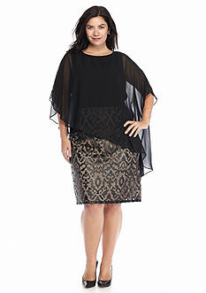 Adrianna Papell Plus Size Sheath Dress with Capelet