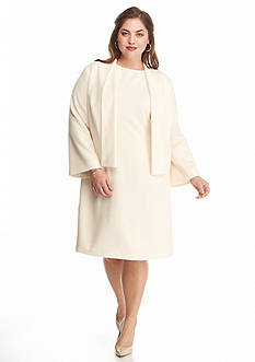 Adrianna Papell Plus Size Crepe Jacket Dress