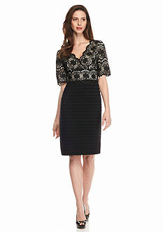 Adrianna Papell Lace Bodice Sheath Dress
