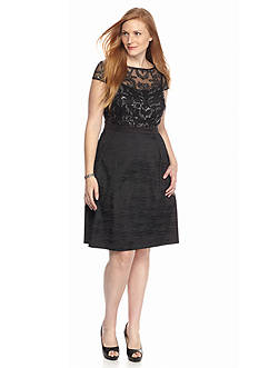 Adrianna Papell Plus Size Fit and Flare Sequin Dress