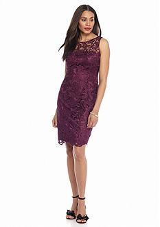 Adrianna Papell Sleeveless Allover Lace Sheath Dress