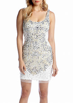 Adrianna Papell Sleeveless Bead and Sequin Shift Dress