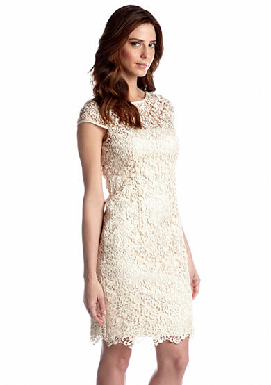 Adrianna Papell Cap-Sleeved Allover Lace Dress