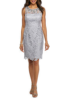 Adrianna Papell Bead Embellished Neckline Lace Sheath Dress