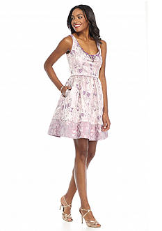 Adrianna Papell Bead Embellished Metallic Jacquard Fit and Flare Dress