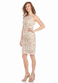 Adrianna Papell Sequin and Mesh Sheath Dress