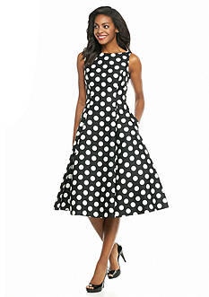 Adrianna Papell Polka Dot Fit-and-Flare Dress