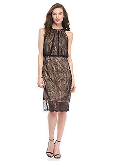 Adrianna Papell Lace Halter Cocktail Dress
