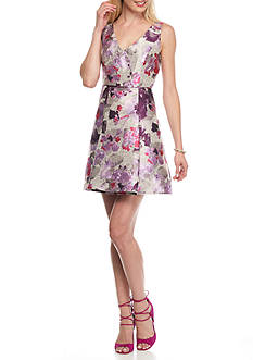 Adrianna Papell Floral Fit and Flare Dress