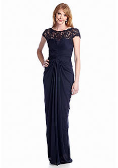 Lauren Ralph Lauren Cap Sleeve Gown with Illusion Neckline