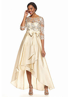 Adrianna Papell Sequin Bodice High Low Hem Gown