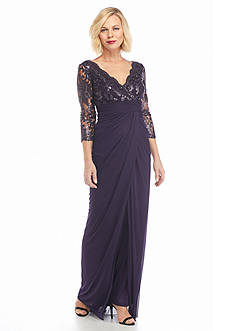 Adrianna Papell Sequin and Mesh Bodice Gown