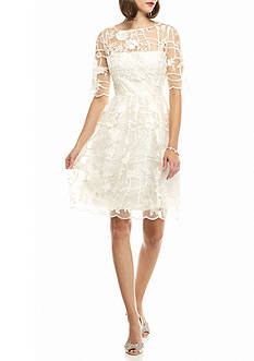 Adrianna Papell Embroidered Mesh Party Dress