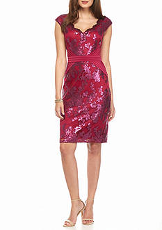 Adrianna Papell Lace and Sequin Sheath Dress