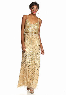 Adrianna Papell Mesh with Sequin Blouson Gown