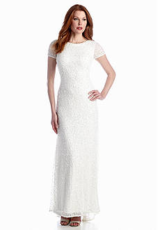 Adrianna Papell Cap-Sleeve Sequin Gown