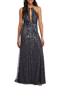 Adrianna Papell Deep Keyhole Halter Gown