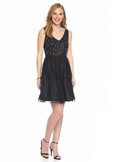 Adrianna Papell Bead Embellished Bodice Tulle Cocktail Dress