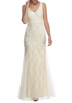 Adrianna Papell Floral Bead and Embroidered Mesh Mermaid Gown