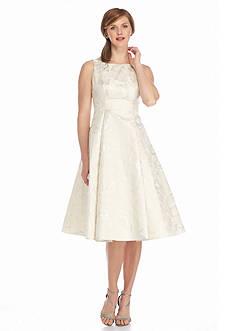 Adrianna Papell Metallic Jacquard T-length Dress