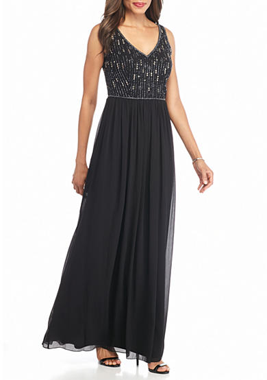 Adrianna Papell Bead and Sequin Bodice Maxi Dress