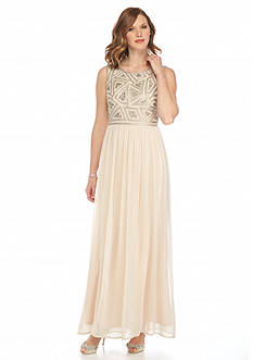Adrianna Papell Long Beaded Bodice Gown