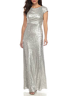 Adrianna Papell Short Sleeve Sequins Gown
