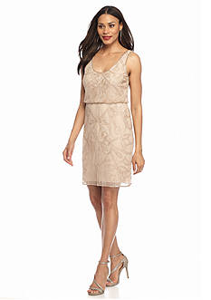 Adrianna Papell Beaded Mesh Blouson Cocktail Dress