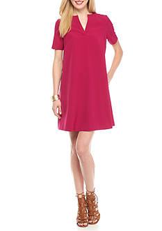 Adrianna Papell Split-Neck Trapeze Dress