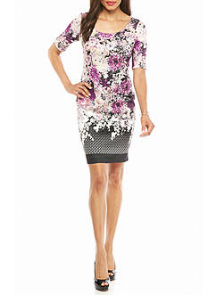 Adrianna Papell Floral Printed Scuba Sheath Dress