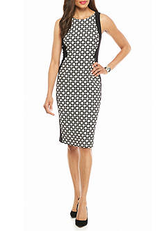 Adrianna Papell Polka Dot Jacquard Panel Sheath Dress
