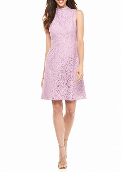 Adrianna Papell Mock Neck Lace A-line Dress