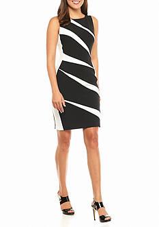 Adrianna Papell Diagonal Stripe Sheath Dress