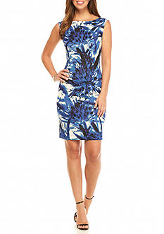 Adrianna Papell Printed Scuba Sheath Dress
