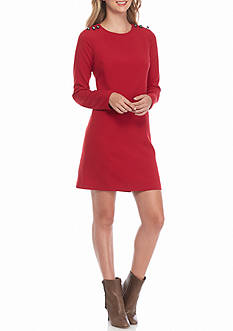Adrianna Papell Button Shoulder Shift Dress