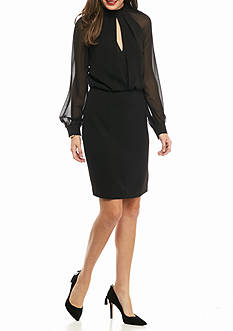 Adrianna Papell Mock-Neck Blouson Dress