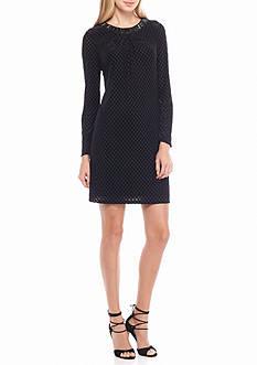 Adrianna Papell Bead Embellished Velvet Swing Dress