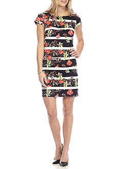 Adrianna Papell Floral Stripe Shift Dress