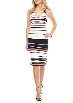 Adrianna Papell Cross Back Striped Midi Dress