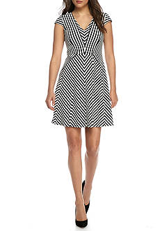 Adrianna Papell Stripe Fit and Flare Dress