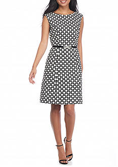 Adrianna Papell Jacquard Belted Fit and Flare Dress