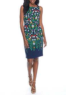Adrianna Papell Sleeveless Square-Neck Floral Dress