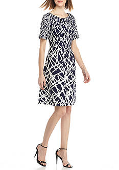 Adrianna Papell Short Sleeve Fit-and-Flare Dress