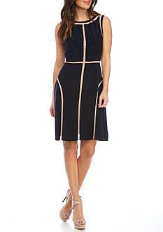 Adrianna Papell Shadow Stripe Sleeveless Dress