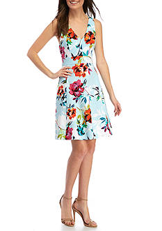 Adrianna Papell Low Back Floral Fit and Flare Dress