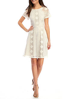 Adrianna Papell Short Sleeve Lace Fit and Flare Dress