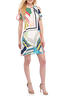 Adrianna Papell Cold Shoulder GEO Printed Trapeze Dress