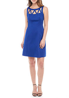 Adrianna Papell Lattice Neckline Fit-and-Flare Dress