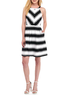 Adrianna Papell Bold Stripe Fit and Flare Halter Dress